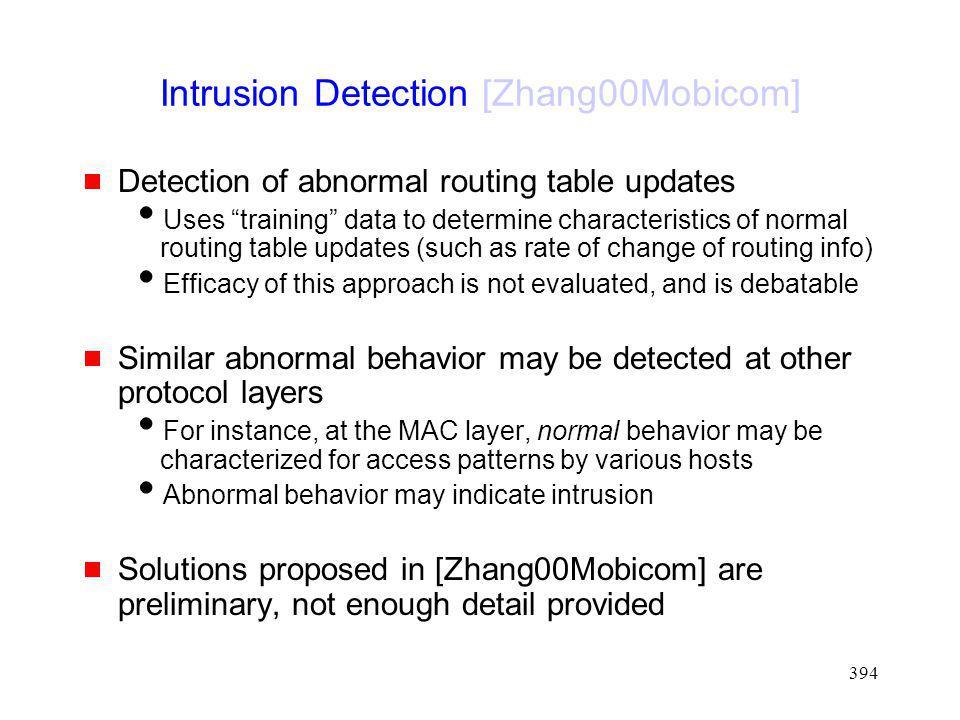 Intrusion Detection [Zhang00Mobicom]